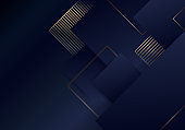 Abstract luxury template elegant blue and gold squares overlapping layer pattern on dark blue background