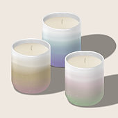 Vector Scented Candle in Traditional Asian or Japanese Ceramic Tea Cup. Gradient Colors.