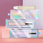 Vector Roll On Fragrance Glass Bottle Packaging with Iridescent or Holographic Acetate Box Packaging.