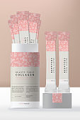 Vector Collagen Powder Beverage with Foil Bag or Packet Packaging and Cylinder Paper Rigid Box. Abstract Pattern.