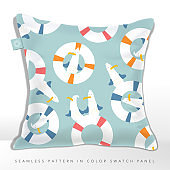 Vector Seamless Cute Seagull and Buoy Cartoon Pattern in Pastel Colors.