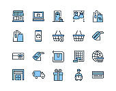 Online store flat line icon set blue color. Vector illustration included symbols. online shopping, contactless delivery, try clothes, size table, label and purchase returns. Editable strokes