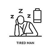 Tired flat line icon. Vector illustration of a tired man. The energy has run out. He wants to sleep. Diabetes symptom