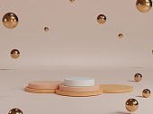 Minimal round pastel colour blank podium with pink background and metallic balls for showing product presentation , 3D rendering technical concept.