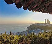 Scenery of Haemaru pavillion in haeundae, Busan, South Korea, Asia