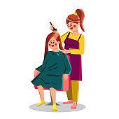 Hairdresser Hair Dye Client Girl With Brush Vector