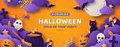 Halloween orange poster template