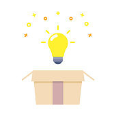 Creative icon of a lightbulb representing ideas, creativity, knowledge, technology and the human mind. Solving problems concept thin line illustration. Startup business strategy solution