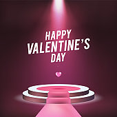 Happy Saint Valentine's Day Poster . High Quality Realistic Sportlight for your Design . Isolated Vector Elements