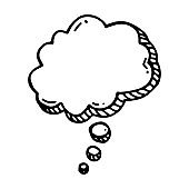 hand drawn think balloon in doodle style isolated