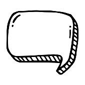 hand drawn balloon rectangular in doodle style isolated.