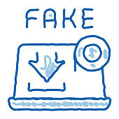 downloading fake video doodle icon hand drawn illustration