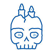 halloween skull candle doodle icon hand drawn illustration