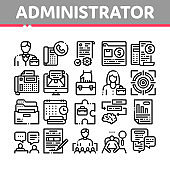 Administrator Business Collection Icons Set Vector Illustrations