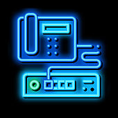Home Telephone and Video Recorder Connection neon glow icon illustration