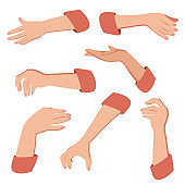 Female hands gesture hand sign vector illustration of a hand in an open gesture