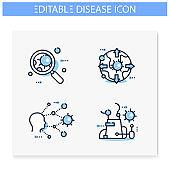 Spread of disease concept line icons set. Editable