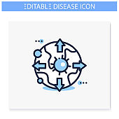 Pandemic map line icon. Editable illustration