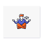 Meditation color icon