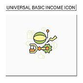 Technological unemployment color icon