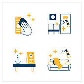 Surface disinfection flat icons set