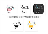 Cleaning shopping cart icons set