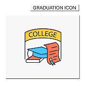 College graduation color icon