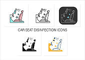 Disinfection of car seat icons set