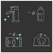 Surface disinfection chalk icons set
