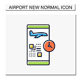 Digital check-in color icon