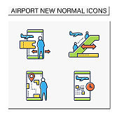 Airport new normal color icons set