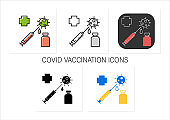 Covid vaccination icons set