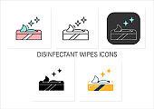 Wet wipes icons set
