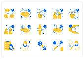Corona virus effects flat icon set
