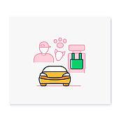 Dog car seat color icon