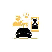 Dog car seat glyph icon