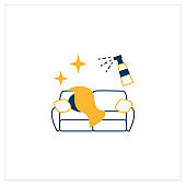 Couch disinfection flat icon