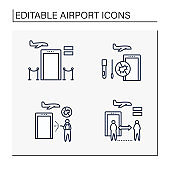 Airport new normal line icons set