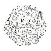 Doodle Winter Elements Greeting Card