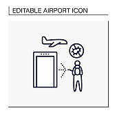 Sanitization airport line icon