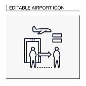 Social distancing at airport icon