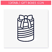 Round present line icon. Editable illustration