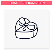 Heart shape present line icon. Editable