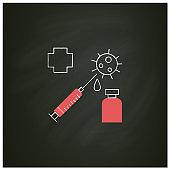 Covid vaccination chalk icon