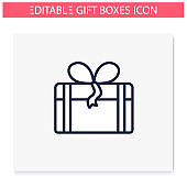 Present line icon. Editable vector illustration