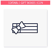 Rectangle shape present icon.Editable illustration