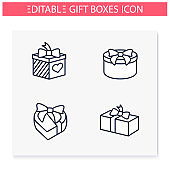 Presents line icons set. Editable illustrations
