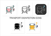 Train cleaning icons set