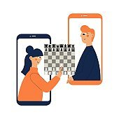 Two people plays chess online. Man and woman competing in chess from their smartphones. Distant leisure activity concept vector illustration. Chess tournament at online chess club