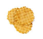 Round Waffle Isolated, Thin Waffled Cookie, Golden Belgian Waffles